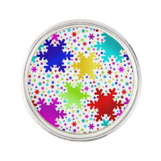 Colorful Shiny Snowflake Pattern Lapel Pin