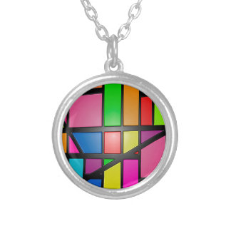 Colorful shiny Tiles Silver Plated Necklace