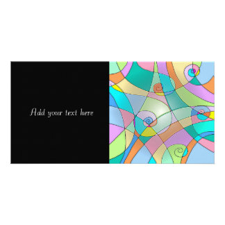 Colorful Simulated Stained Glass in Pastels Custom Photo Card