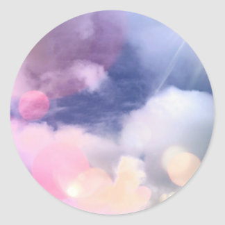 Colorful Sky Classic Round Sticker, Glossy Classic Round Sticker