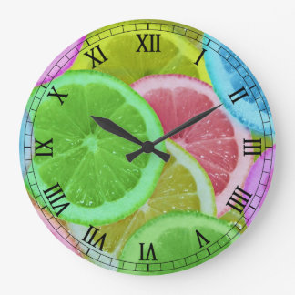 colorful slices of lemon and orange wall clocks