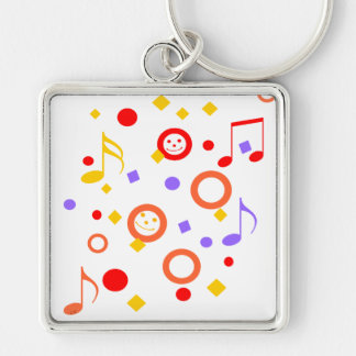 Colorful Smileys and Music Notes Key Ring