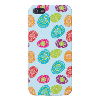Colorful Spring Easter Eggs Pattern on Baby Blue iPhone 5 Case