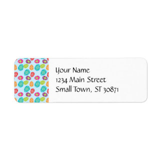 Colorful Spring Easter Eggs Pattern on Baby Blue Return Address Label