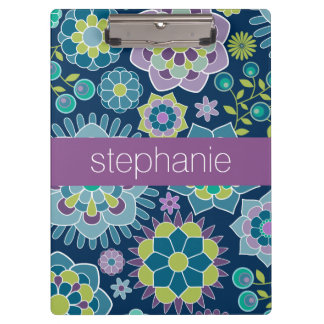 Colorful Spring Floral Pattern Custom Name Clipboards