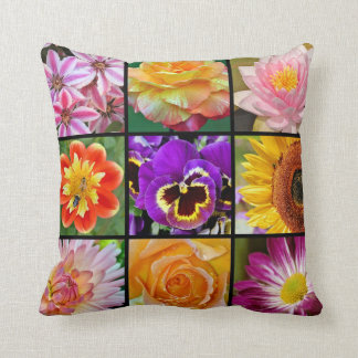 Colorful spring flower collage pillow