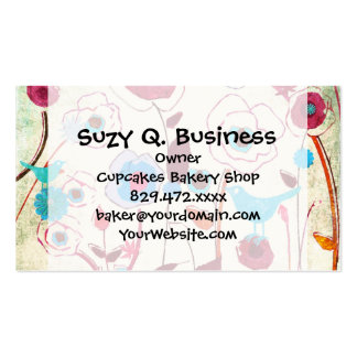Colorful Spring Flowers Birds Mulberry Blue Orange Business Cards