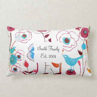 Colorful Spring Flowers Birds Mulberry Blue Orange Pillow