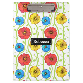 Colorful spring flowers clipboard
