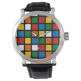 Colorful Squares in Primary Colors Big Face Watch