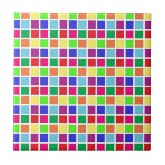 Colorful Squares on White Tile