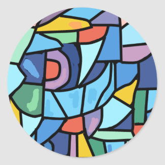 Colorful Stain Glass Effect Classic Round Sticker