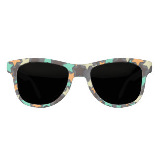 Colorful Star Pattern with Dark Background Sunglasses