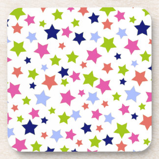 Colorful stars pattern on white coaster