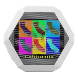 Colorful State of California  Pop Art Map White Bluetooth Speaker