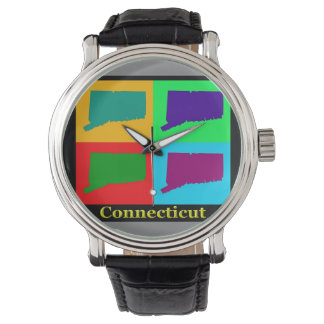 Colorful State of Connecticut Pop Art Map Watch