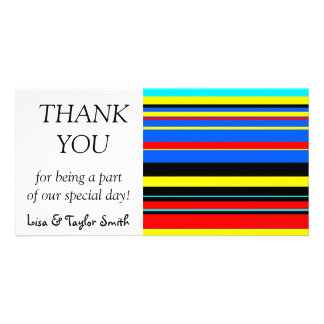 Colorful stripes abstract design custom photo card
