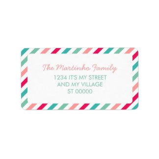 Colorful Stripes Aqua Blue Pink Diagonal Stripes Address Label