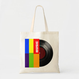colorful stripes music vinyl tote bag