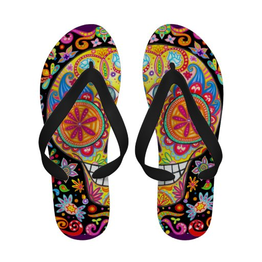 Colorful Sugar Skull Flip-Flops - Day of the Dead!