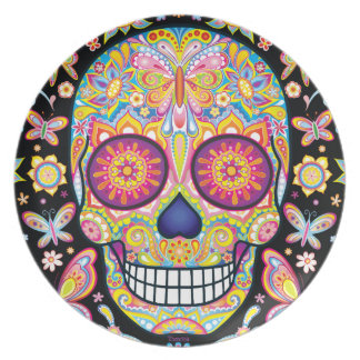 Colorful Sugar Skull Plate - Day of the Dead Art