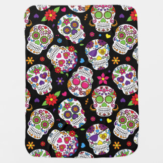 Colorful Sugar Skulls On Black Receiving Blankets