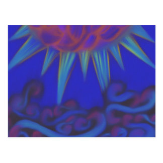 Colorful sun waves postcard