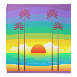 Colorful Sunset On The Beach With Palm Trees Bandana