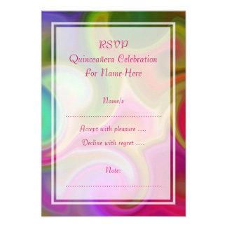 Colorful Swirl Design Quinceanera Custom Invitations
