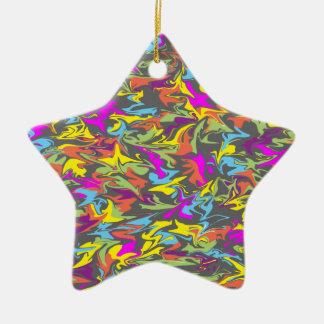 Colorful Swirls on Dark Gray Background Star Christmas Ornament