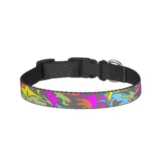 Colorful Swirls on Dark Gray Design Dog Collar