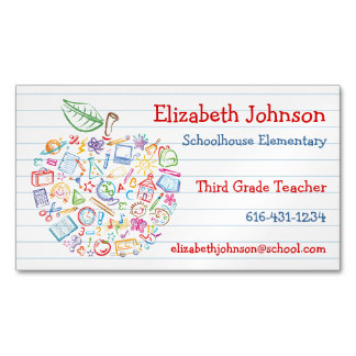 Colorful Teachers Apple Business Card Magnet Magnetic Business Cards