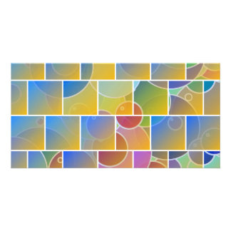 Colorful tiled puzzle photo greeting card