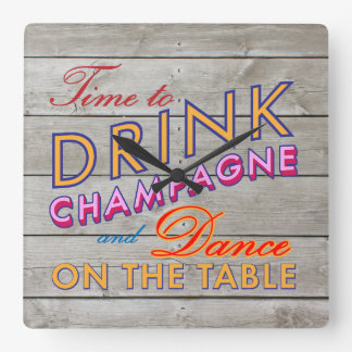 Colorful Time to Drink Champagne Wall Clock