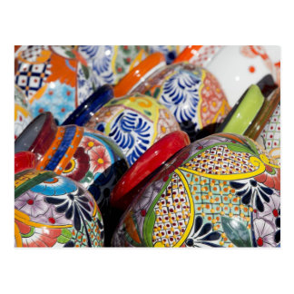 Colorful traditional hand-painted Mexican pottery Postcard