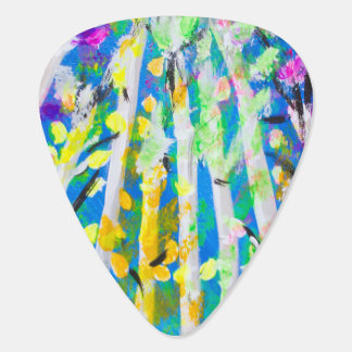 Colorful Trees with Neon Leaves Painting Plectrum