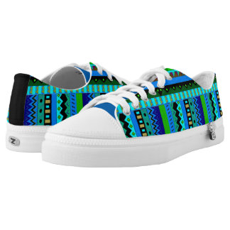 Colorful Tribal Pattern ZipZ Tennis Shoes Printed Shoes