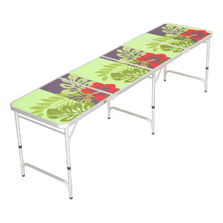 Colorful Tropical Beach Island Hibiscus Flower Beer Pong Table
