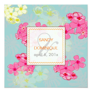 Colorful tropical flowers/foliage Invitaitons Card