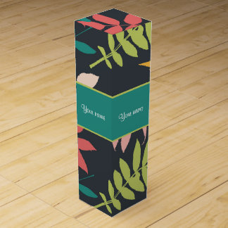 Colorful Tropical Leaves Wine Gift Box