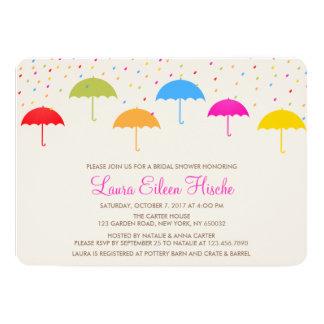 Colorful Umbrellas Bridal Shower Invitation