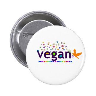 Colorful Vegan Pinback Button
