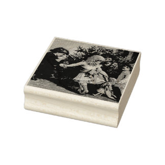 Colorful vintage Christmas games Rubber Stamp