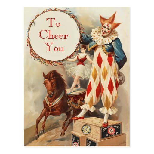 Colorful Vintage Circus Clown Post Card