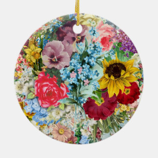 Colorful Vintage Floral Christmas Ornament