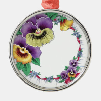 Colorful Vintage Floral Pansy Round Ornament