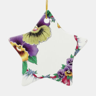 Colorful Vintage Floral Pansy Star Ornament