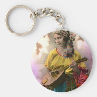 Colorful Vintage Gypsy Girl Basic Round Button Key Ring