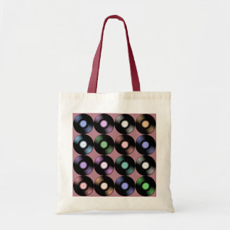 COLORFUL VINYL RECORDS PATTERN TOTE BAG