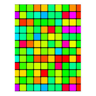 Colorful Vivid Design Retro Squares Postcard